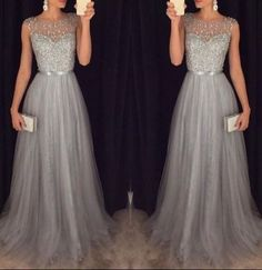 Tulle Grey Prom Dresses Modest Evening Dress With Sparkle Beads Long Gray Formal Gown For Senoir Teens