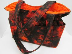 Large Orange Black Purse, Designer Handbag, Batik Fabric Purse, Diaper Bag, Women Handbag, Quilted Handbag, Women Travel Bag, Spring Bag by JustBeautiful161 on Etsy