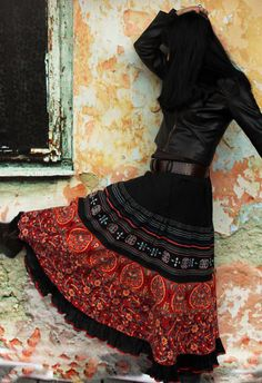 For this type of skirt, I would wear Large in Petites. I love the black belt but not the black shirt.