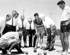 1940's Playing with Italian Bocce Balls (Press photograph of bocce at Catholic Club, Yoogali. Courtesy of Griffith Italian Museum)
