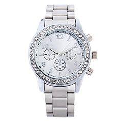 Silber Uhr Elegante Damen Herren Uhr Edelstahl Armbanduhr Damenuhr Herrenuhr mit Strass Watches - http://on-line-kaufen.de/new-trend-love-for-accessories/silber-uhr-elegante-damen-herren-uhr-edelstahl