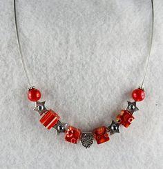 Halskette Drahtcollier mit Herzperle, rot und silber