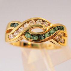 Genuine Emerald & CZ Sterling Vermeil by BrightEyesTreasures, $79.00