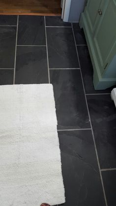 12 x 24 Black Slate floor from Home Depot with Delorean Gray grout   http://m.homedepot.com/p/MS-International-Montauk-Black-12-in-x-24-in-Gauged-Slate-Floor-and-Wall-Tile-10-sq-ft-case-SHDMONBLK1224G/202919773