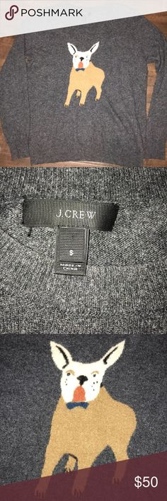 J. Crew Frenchie Sweater Dark gray with frenchie on front. Very soft and lightweight. Excellent condition. J. Crew Sweaters Crew & Scoop Necks