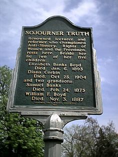 Sojourner Truth.  Marker next to her gravesite at Oak Hill Cemetery, Battle Creek, Michigan