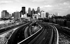 Minneapolis Skyline Minneapolis Skyline, Pedestrian Bridge, Twin Cities, Railroad Tracks, Minnesota, New York Skyline, Art Photography, Black And White, City