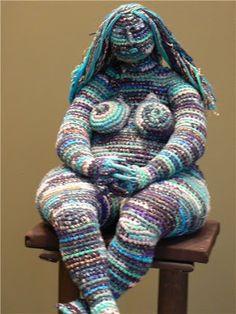 crochet knit unlimited: Crazy crochet: flying fatties made by Julia Ustinova Knit Art, Crochet Art, Crochet Woman, Crochet Dolls, Freeform Crochet, Crochet Stitches, Crochet Patterns, Doilies Crochet, Doily Patterns