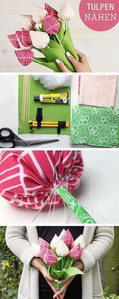 DIY-Anleitung: Tulpen aus Stoff nähen, Frühling basteln / diy tutorial for spring and mother's day: how to sew tulips via DaWanda.com