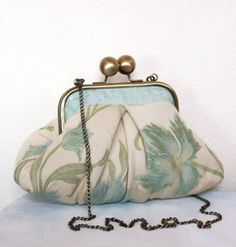 Aqua Floral Mimi Clutch Bag by MlleBagatelles on Etsy