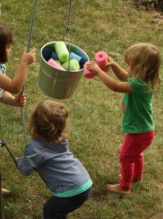 bucket and a rope backyard activity