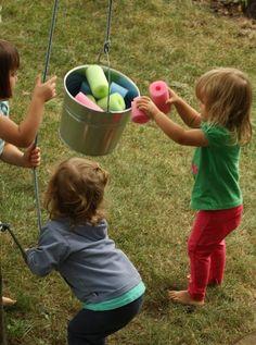 bucket and a rope backyard activity