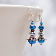 Metallic Blue Earrings with Silver Iris Glass, Swarovski Crystals, Copper and Silver Mixed Metal Earrings Handmade Earrings