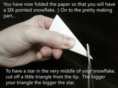 SIX pointed Paper Snowflakes FOLDING and Cutting TUTORIAL Little Eme Very easy to follow