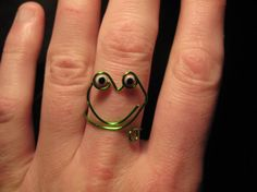 Wire Wrapped Green Frog MADE to ORDER Ring With Eyes