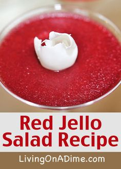Red Jello Salad Recipe – dissolve 1 small pkg cherry Jello and to c red hot candies in saucepan of c boiling water, stir in 1 c applesauce and chill until set. Red Jello Salad Recipe – dissolve 1 small pkg cherry Jello and to c red hot candies … Apple Recipes, Great Recipes, Favorite Recipes, Easy Recipes, Cherry Jello Recipes, Gelatin Recipes, Cinnamon Recipes, Apple Cinnamon, Dessert Salads