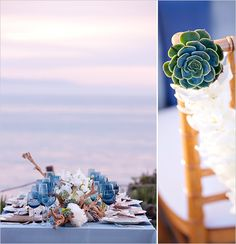 love the succulent accent on bride and groom chairs and succulents as flowers arrangements