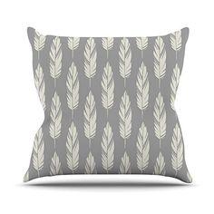 KESS InHouse AL1029BOP03 18 x 18-Inch 'Amanda Lane Feathers Grey Cream Grey Pattern' Outdoor Throw Cushion - Multi-Colour *** Visit the image link for more details. #GardenFurnitureandAccessories