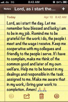 Prayer before work.