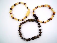 Lot of 3 Baltic Amber Baby Teething  Bracelets by amberyouritem,  to try or not to try......
