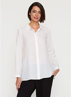 Eileen Fisher CLASSIC COLLAR SHIRT IN ORGANIC COTTON TWILL VOILE