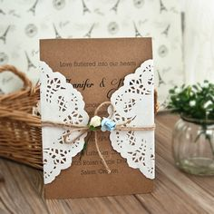 vintage lace paper flower wedding invites EWLS054 as low as $1.79 |