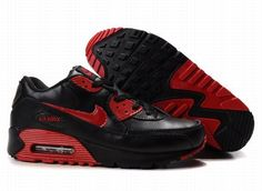 Ken Griffey Shoes Nike Air Max 90 Black Varsity Red Leather [Nike Air Max 90 - Red accenting branding, Nike swooshes, extra overlays and heel enables the Nike Air Max 90 Black Varsity Red Leather look pretty enough. The famous shoes are of quality an Nike Air Max Tn, Tn Nike, Cheap Nike Air Max, Nike Sb, Cheap Air, Nike Heels, Nike Wedges, Adidas Shoes, Nike Air Max For Women