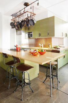 Cooper Square Loft by Christopher Coleman Interior Design Industrial Stool, Kitchen Industrial, New York Loft, Green Cabinets, Concrete Floors, Decoration, Designer, Cool Designs, Flooring