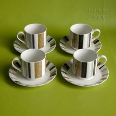 a06c225ddbf Vintage Set of 4 Four 1960s/70s Midwinter Queensbury Stripe Espresso Cups &  Saucers by