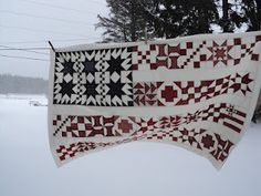 Cyndi Nelson this one made me think of you. $13.00 for Old Glory flag quilt pattern via Yellow Creek Quilt Designs. Love the idea of doing a sampler for a flag. Traditional yet modern. Image via http://neattidy-mary.blogspot.com