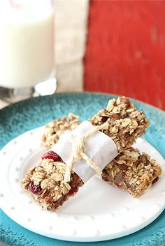 Healthy homemade granola bars. With bananas