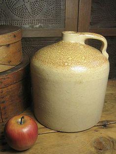 Old Beehive Salt Glaze Stoneware Jug w/ Orange Peel Surface   $95