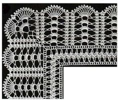 Crochet lace edging with point Crochet Border Patterns, Crochet Lace Edging, Crochet Motifs, Baby Knitting Patterns, Diy Crafts Crochet, Easy Crochet, Knit Crochet, Different Crochet Stitches, Crochet Dollies