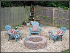 Love this firepit!  We have a smaller corner in our backyard, so we are going to use benches instead of chairs!