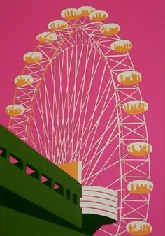 Jennie Ing- The London Eye (on pink) 33 x linocut print Eye Illustration, Building Art, London Art, Environmental Art, Portrait Art, Portraits, Linocut Prints, Line Drawing, Art For Kids