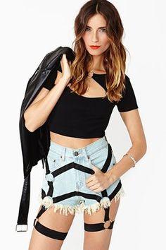 NASTYGAL - Harness Cutoff Shorts #15things #style #trending #harness #nastygal