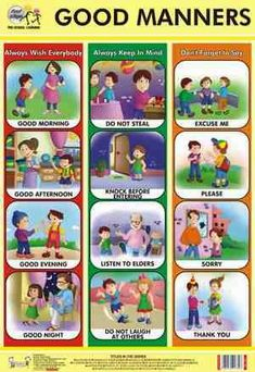 Kids Discover Good Manners Chart at Best Price in Delhi, Delhi Manners Preschool, Manners Activities, Manners For Kids, Teaching Manners, Good Manners, Preschool Learning, Preschool Activities, Teaching Kids, Preschool Charts