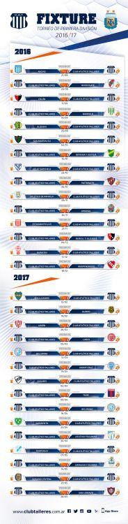 El fixture de Talleres para la Primera División 2016/17 Esta...  El fixture de Talleres para la Primera División 2016/17  Esta tarde en la Sede de la Asociación del Fútbol Argentino se sorteó el fixture para el Campeonato de la Primera División 2016/17. El Torneo que tendrá 30 fechas comenzará el fin de semana del 21 de agosto y se jugará hasta el 28 de mayo del 2017 con un receso desde el 18 de diciembre del 2016 hasta el 12 de febrero del año próximo.  El debut para Talleres será ante…