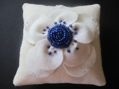 Ring Bearer Pillow Wedding Blue Ivory by ArtisanFeltStudio on Etsy, $41.00