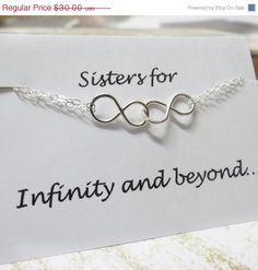 ON SALE Sisters Infinity Bracelet & Card SET Double by lizix26, $25.50