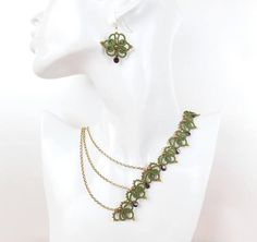 Contemporary asymmetrical necklace. Handmade tatting lace