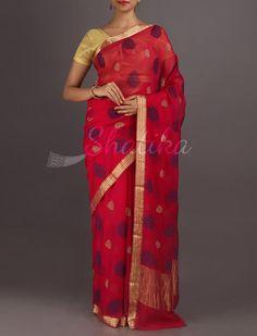 Yamini Cherry Red Bold Color Motifs Pure #MysoreChiffonSaree