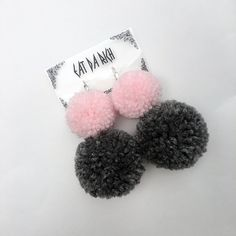 Handmade Two-Tone Pom Pom Earrings - Choose Your Color(s) - Lightweight by EatDaRich on Etsy