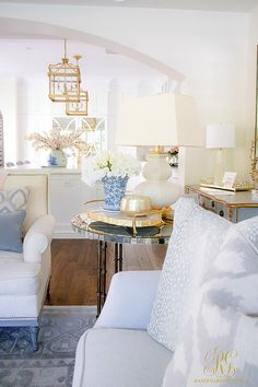 Spring Home Tour white and blue transitional living room - Randi Garrett Design