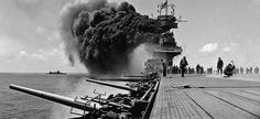 Navy aircraft carrier USS Yorktown after being hit by Japanese attacks during the Battle of Midway, June Naval History, Military History, American Aircraft Carriers, Uss Yorktown, Navy Aircraft Carrier, Us Navy Ships, Battleship, World War Two, Wwii