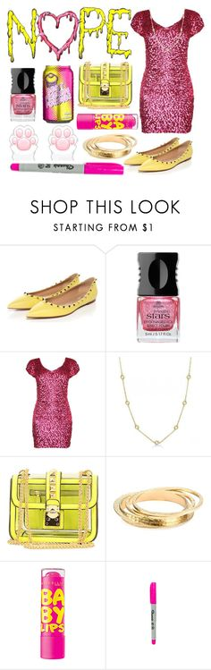"""""""Pink/yellow"""" by shelbyvengeance ❤ liked on Polyvore featuring Alessandro International, Maybelline and American Apparel"""