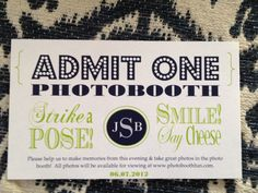 50 Photo Booth Tickets Admit One 25 x 3 by csugarm on Etsy