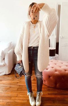 Fall Fashion Outfits, Fall Winter Outfits, Look Fashion, Autumn Winter Fashion, Casual Outfits, Cute Outfits, Fashion Tips, Bag Jeans, Tee Bag