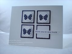 Card, 4 sq w butterfly punchies, nice borders, 2 colors. by  Debra Currier @ ArtFelt Impressions