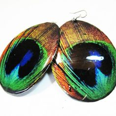 boucles en métal plume de paon
